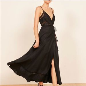 Reformation Daria black maxi dress NWT